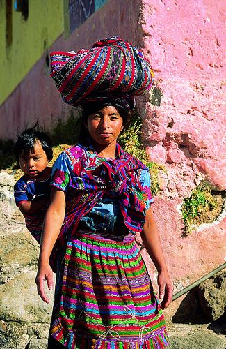 Mayan woman in traditional dress, Chichicastenango Market, Guatemala