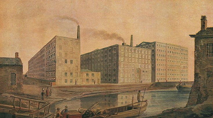 Ancoats, Manchester. McConnel Company's mills, about 1820. From an old water-colour drawing of the period. http://en.wikipedia.org/wiki/File:McConnel_%26_Company_mills,_about_1820.jpg