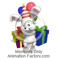 Bunny with birthday presents Animated Clipart