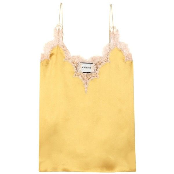 Gucci Lace-Trimmed Silk Camisole Top (47,245 MKD) ❤ liked on Polyvore featuring tops, yellow, silk cami, camisole tops, lace trim tank top, yellow tank and yellow top