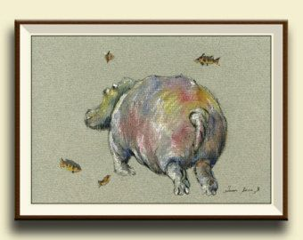 PRINT-Hippo swimming with lilies africa hippo nursery art
