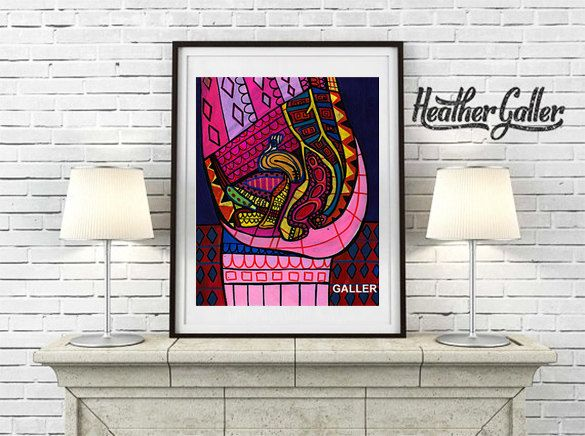 Modern Female Anatomy Art Print Art Print Poster by Heather Galler Science Surreal Human Body Medical Chart OBGYN Reproductive Organs