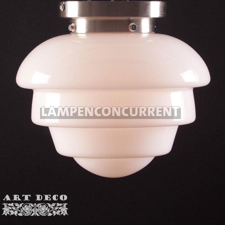 Voor badkamer (Art deco plafondlamp Oxford staal 25cm)  Lampenconcurrent E55,-