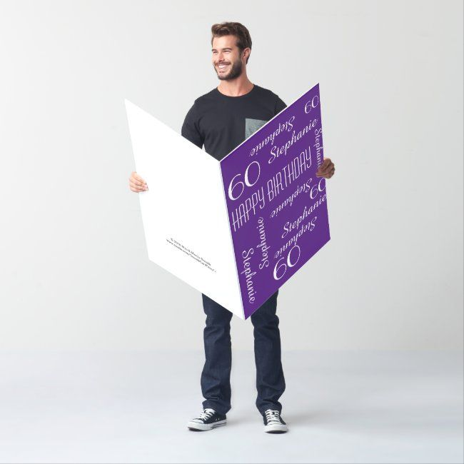 Customized Jumbo Huge Purple Birthday Card Any Age Zazzle Com Purple Birthday Card Big Birthday Cards Birthday Cards For Friends