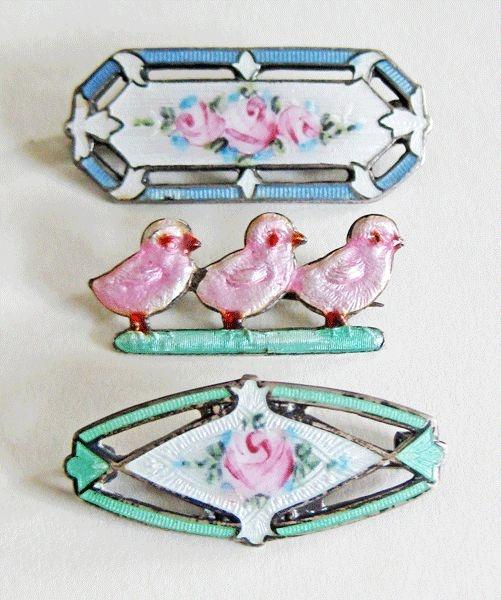 Vintage and Antique Lot of 3 Edwardian Sterling Enamel Scatter Pins Hermann