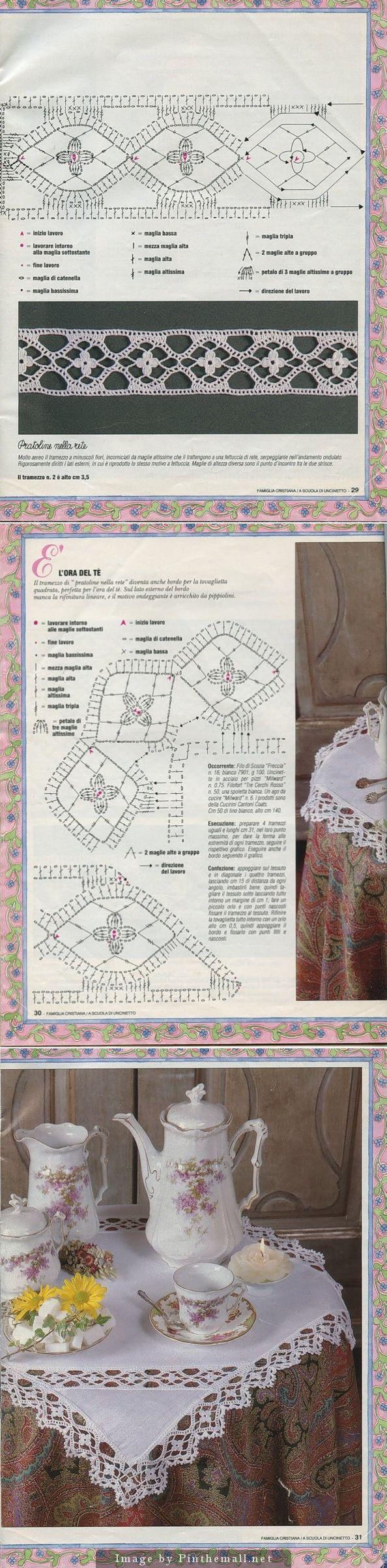 Lovely flower insertion & edging (incl. turning corner) ~~ http://www.webchiem.com/2011/05/crochet-lace-more-patterns-in-crochet.html?m=1