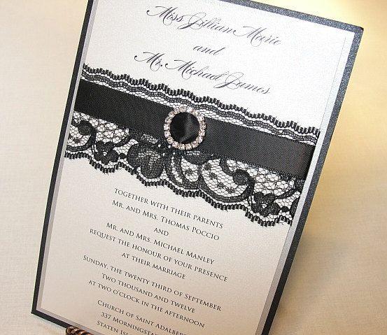 JUSTINE Lace Wedding Invitation, Invite, Vintage, Shabby Chic, Couture, Elegant. $600.00, via Etsy.