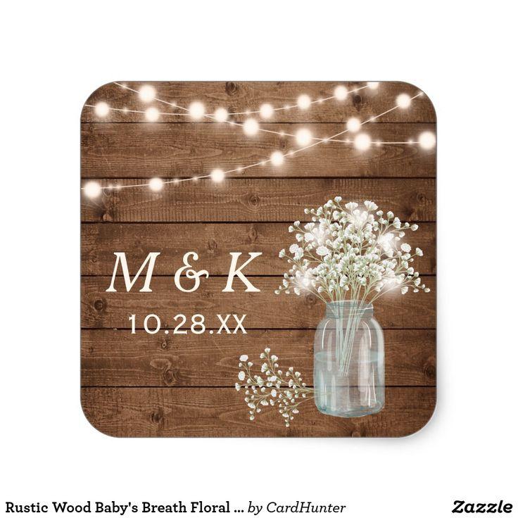 Rustic Wood Babyu0027s Breath Floral Wedding Monogram