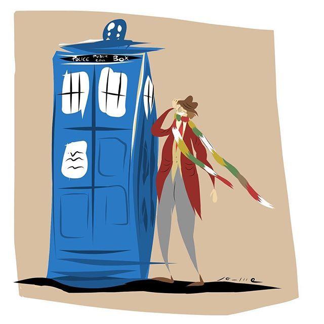 4th Doctor & Tardis #jaumefarres #doctorwho #bbcdoctorwho #4thdoctor #tardis #tombaker #blue #scifi #picoftheday #design #ilustracion #illustration #draw #drawing #art #artwork #sketch #sketchbook #space #time