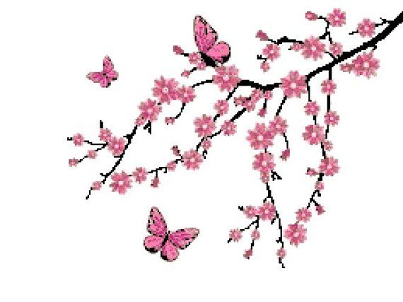 Cross Stitch Pattern Cherry Blossom Tree Branch And Butterflies Xstitch Pdf Pattern Instant Download Cherry Blossom Art Cherry Blossom Tree Tattoo Blossom Tree Tattoo