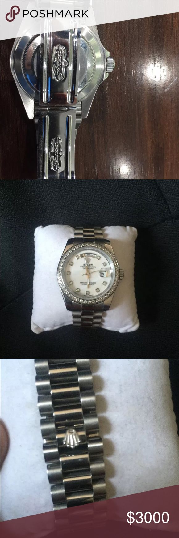 Day-date Rolex Presidential day date Rolex with diamonds in the bezel. Great gift to your self or someone else! Contact me for deals, offers negotiations 586-563-4723. 100% authentic please keep your negative comments and other things to your self Rolex Jewelry
