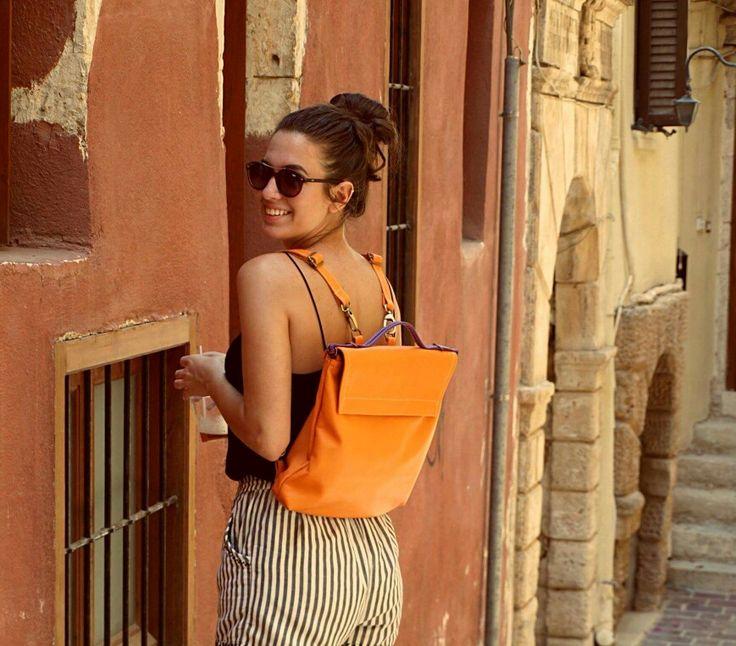 Pottier sloulder bag - backpack.lether, orange color
