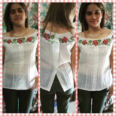 Gracias a nuestra modelo! Camisa bordada con diseño de flores! #materialesangie #vestidostipicos #vestidosestilizados #Panamá #panameña #panamapictures