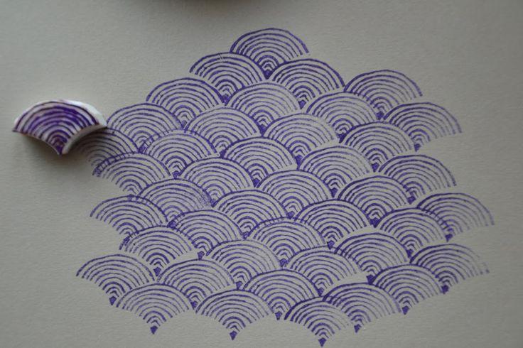 Motif japonisant en tampons gravés  