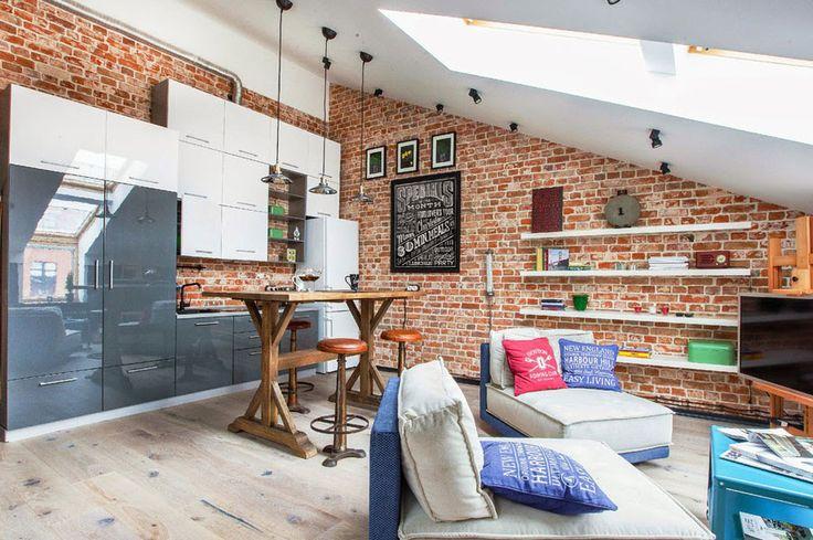 Small Loft Apartment With Creative Interior Design Loft Design. Super Interior  Red Brick Wall ...