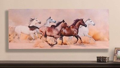 Art Paintings Mixed Media Collage: 40 Galloping Horses In Desert Canvas Art Print -Southwestern Wall Decor Picture BUY IT NOW ONLY: $59.99