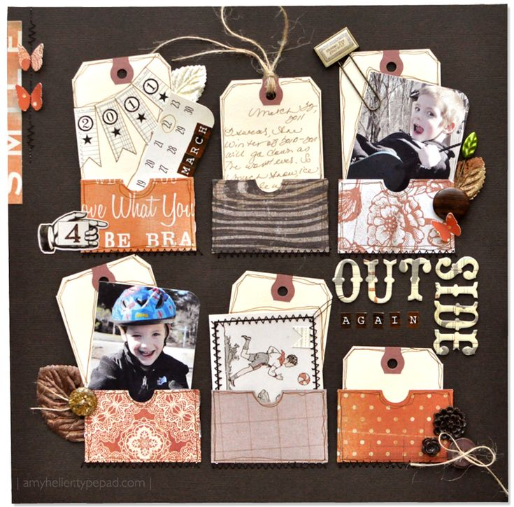Cute Boy's Scrapping Page...using paper pockets filled with cute pics and tags...love the layout idea!
