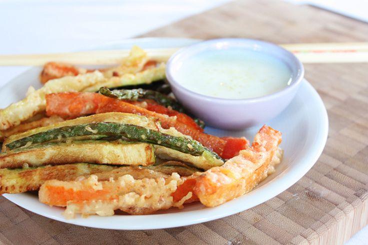 Groente tempura met yoghurt-knoflookdip