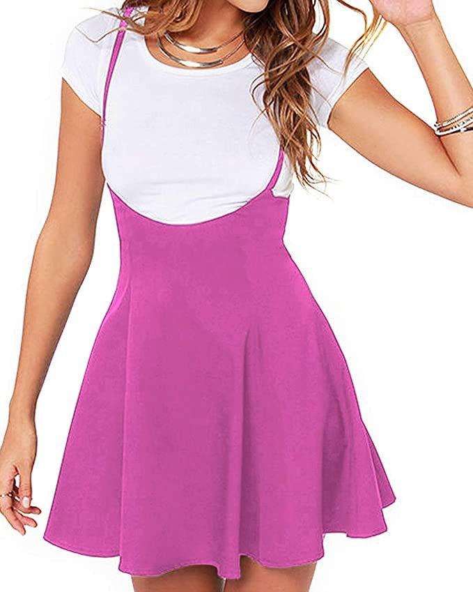 YOINS Womens Suspender Skirts Basic High Waist Versatile Flared Skater Skirt Overall Dress