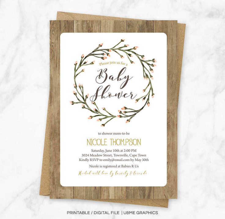 Wreath Baby Shower, Baby Shower Invite, Rustic Baby Shower Invite, Wreath, Garden Baby Shower Invitation, Woodland Baby Shower Invitation