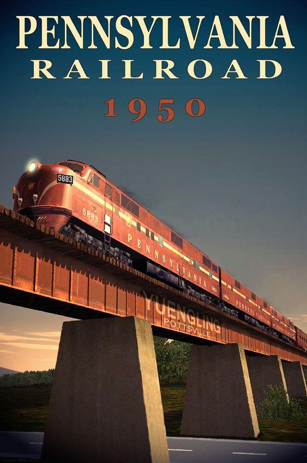 PENNSYLVANIA RAILROAD Diesel Train Yuengling Pottsville Poster Art Print 038 | eBay