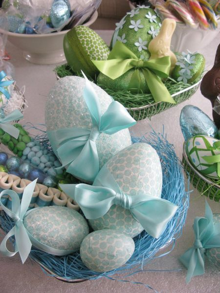 Plastic eggs covered with napkins & modge podge ... Cool!