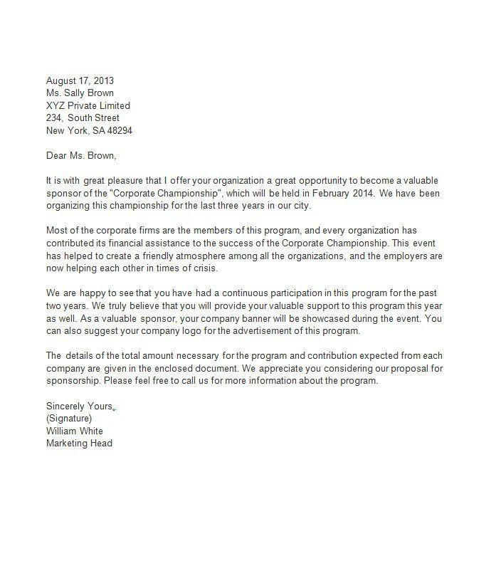 Sponsorship Letter Template 08