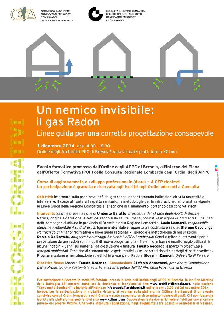 """locandina/programma """"Un nemico invisibile: il gas Radon """", evento formativo promosso dall'OAPPC di Brescia e dalla Consulta - progetto grafico: Redazione di AL"""