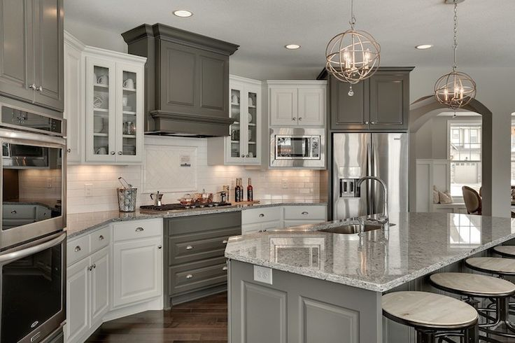 Kitchen with Corner Stove, Transitional, Kitchen, Benjamin Moore Kendall Charcoal, Gonyea Homes