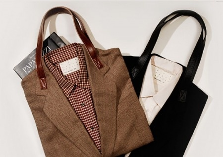 """Love this idea! """"The two styles displayed here are Joe (in brown) and Nathan (in black). Made from second hand clothes, each Suit tote is one of a kind ─ mixture of wool suiting material and cotton shirt, even throwing in some silk occasionally; handles are made from an old leather sofa."""""""