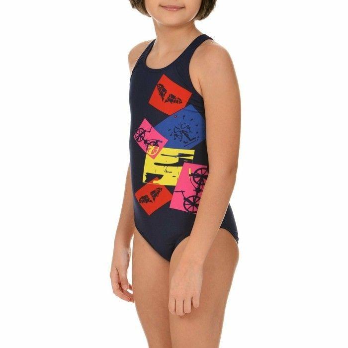 maillot de bain fille 14 ans Arena aux carres colores sur fond noir