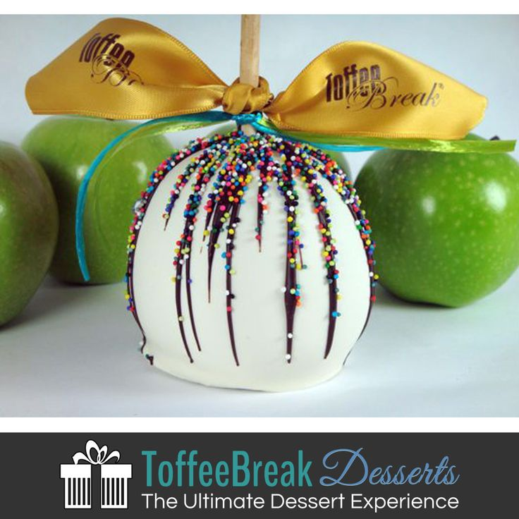 White Chocolate Caramel Apples taste as good as they look! We can customize caramel apples for any occasion.