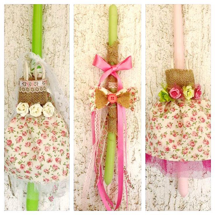 handmade, easter, candles, dresses, bows, flowers, florals, χειροποιητες λαμπαδες, πασχαλινες λαμπαδες
