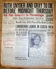 1927 headline display newspaper RUTH SNYDER to DIE in ELECTRIC CHAIR for MURDER