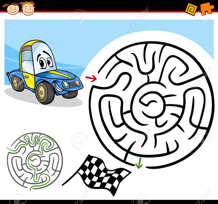 Cartoon Illustration Of Education Maze Or Labyrinth Game For.. Royalty Free…