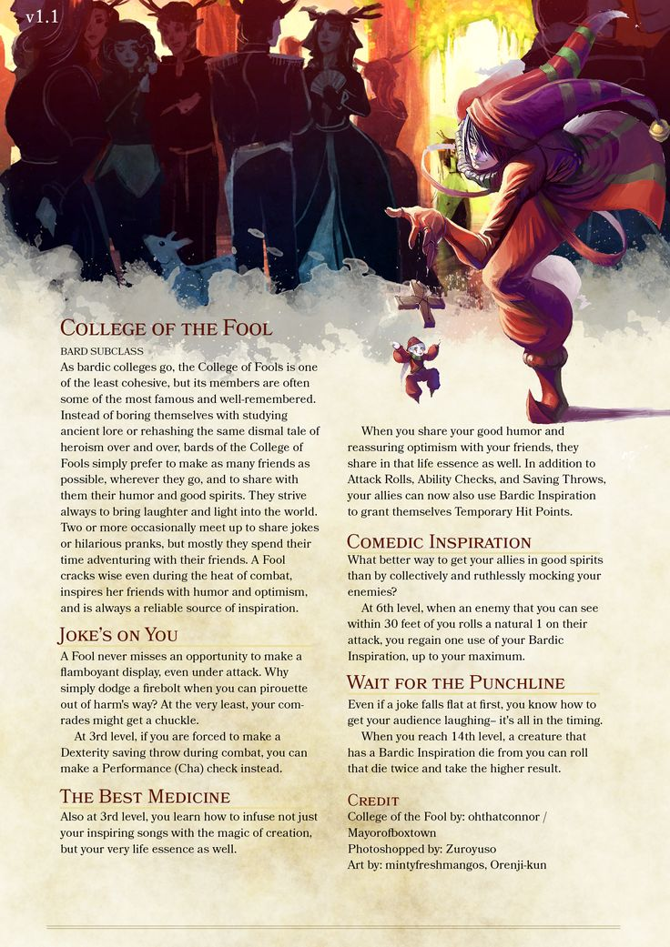 Bard Subclass: College of the Fool