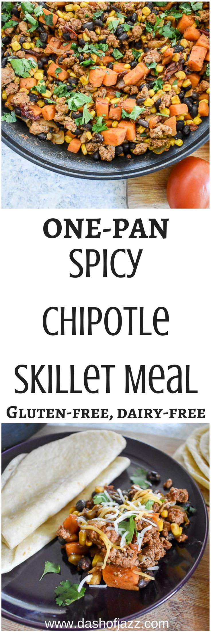 Spicy Chipotle Skillet Meal comes together in under an hour in one pan and is full of flavor and good for your ingredients. Serve it over rice, wrapped up in a tortilla, with a salad, or by itself. Gluten free, dairy free, and ready in under 45 minutes! Recipe by Dash of Jazz #vivalamorena #ad @lamorenausa