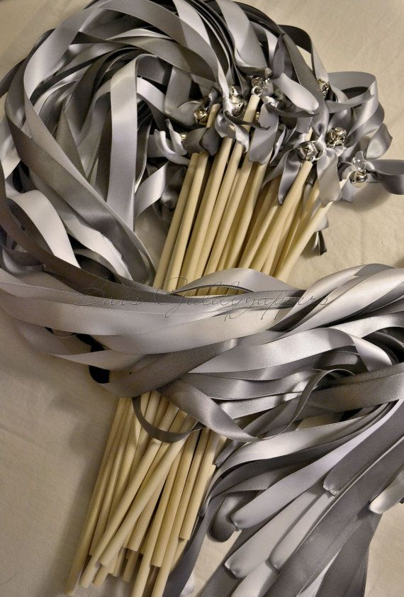 Pewter and silver ribbon wands with bells by babs for Ribbon wands