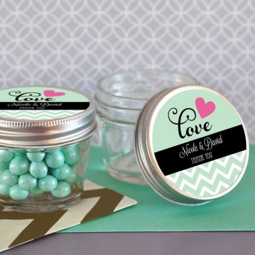 Personalized Bridal 4 oz. Mason Jars by Beau-coup