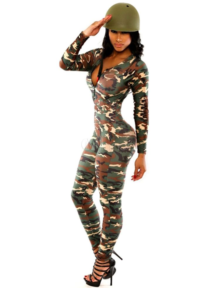 Sexy Army Costume Women's Camo Bodycon Jumpsuit With Hat - Milanoo.com