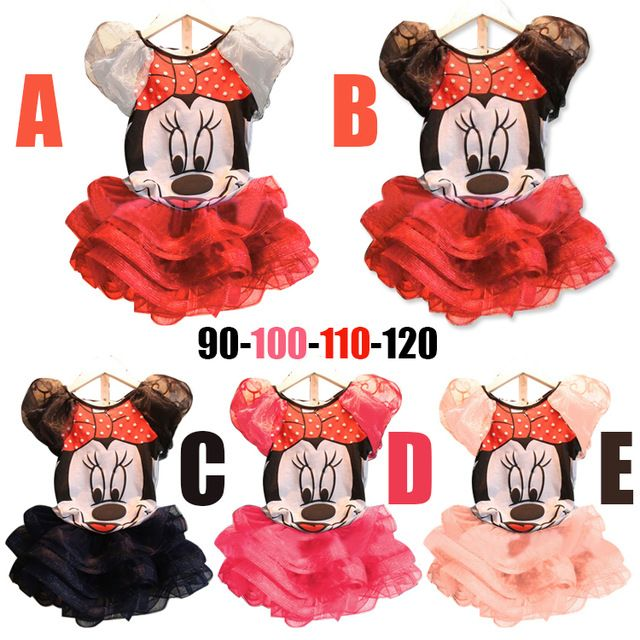 El envío Libre 2016 Nueva Ropa de Bebé Niñas Establece niñas Minnie Mouse camisetas + Falda Niños 2 unids Traje venta al por menor