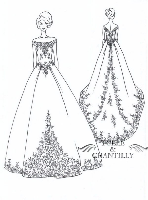 off-shoulder satin wedding dress sketch