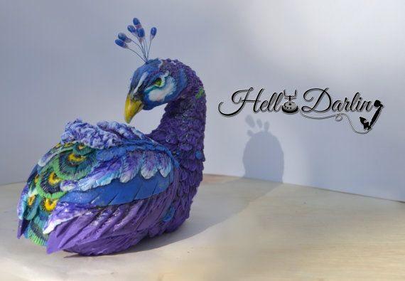 Single Peacock Cake Topper By Hellodarlingstudio On Etsy