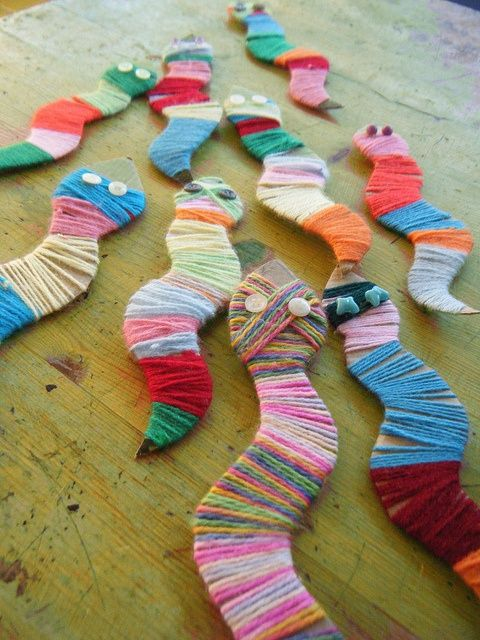 Fun kid project for leftover yarn. Make cardboard snakes (or other shapes) and then wrap in multiple colors of yarn.