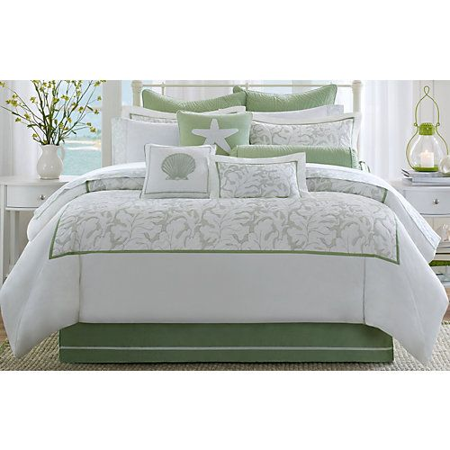 Harbor House Brisbane Comforter Set features an intricate sage sea leaf embroidery pattern which is mitered with sage piping around the center. Set includes comforter, 2 pillow shams (1 in twin set), and bed skirt with 15'' drop.