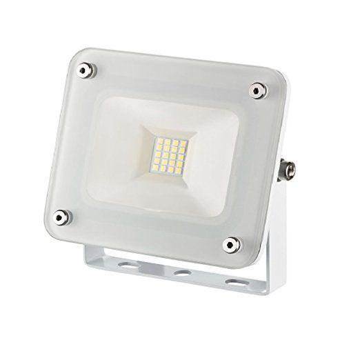 10 W LED Fluter weiß kompakt Flutlicht Außenstrahler Außenleuchte weißes Gehäuse 230V slim 1254