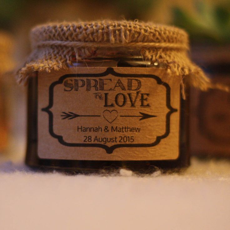 spread the love jam wedding favours personalised stickers