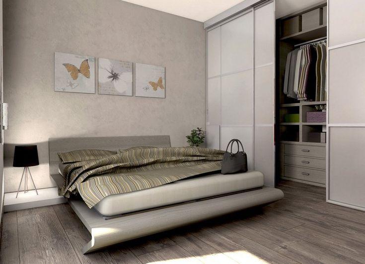 Kleines Schlafzimmer In Beige Mit Kleinem Begehbaren
