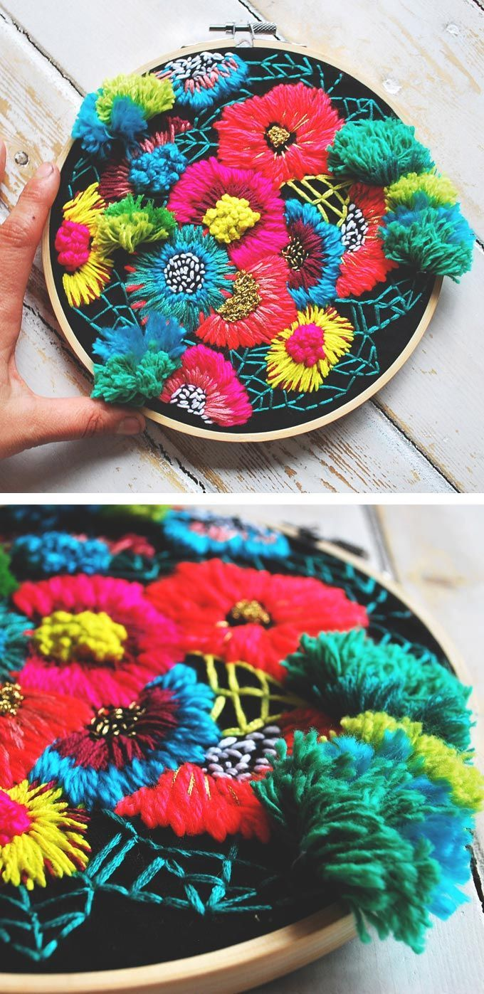 Colorful hoop art by Katy Biele. Style inspiration. Please choose vegan yarns and threads etc