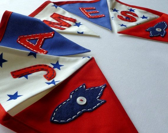 Boy's personalised bunting/banner - BRIGHT & CHEERY, reds and blues - custom made with hand appliqued letters and motifs on Etsy, £20.00